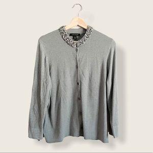 Ann Taylor Embellished Collar Cardigan sz XL